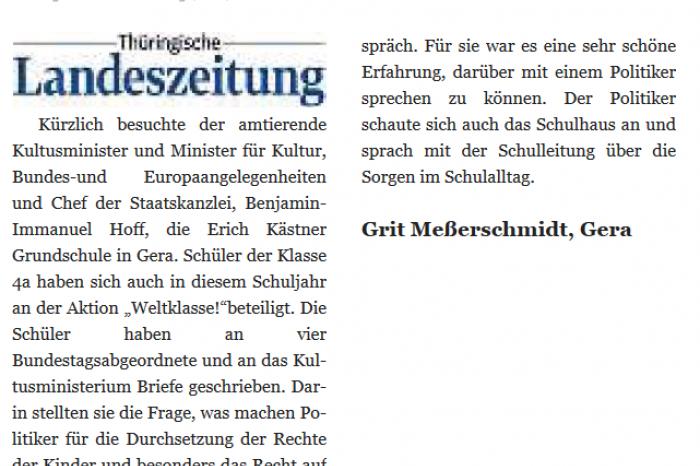 Hoher Besuch In Der Erich Kästner Grundschule Schülerinnen Und
